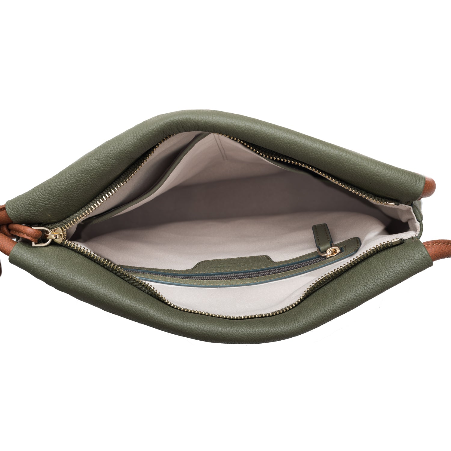A convertible leather green shoulder bag for women with a knot detail on the strap that could be used as a clutch bag with its roll down feature, interior image.