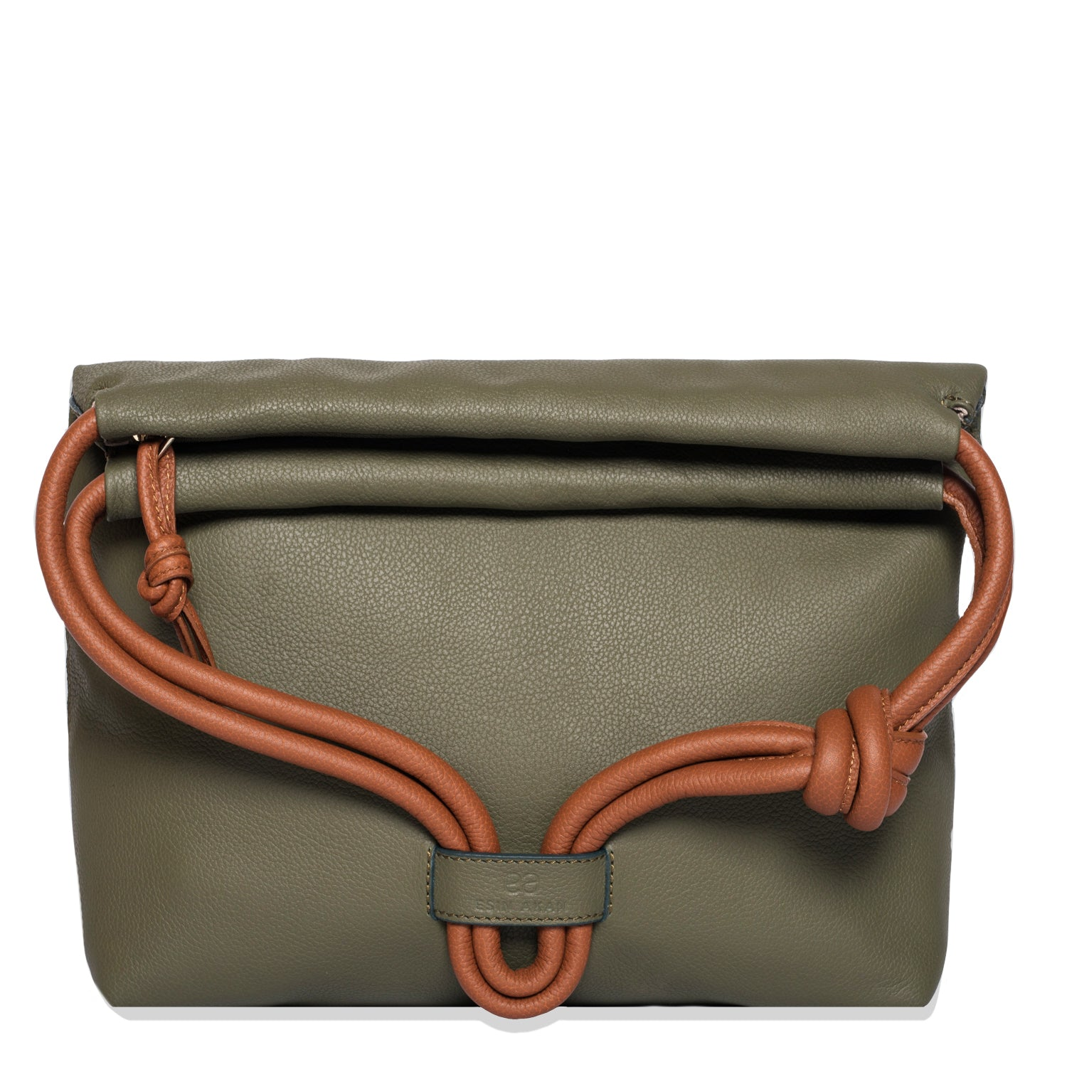 A convertible leather green shoulder bag for women with a knot detail on the strap shown as a clutch bag, front image.