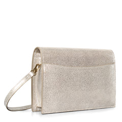 A convertible leather gold clutch bag with a knot detail in front that could be used as a crossbody bag, back image.