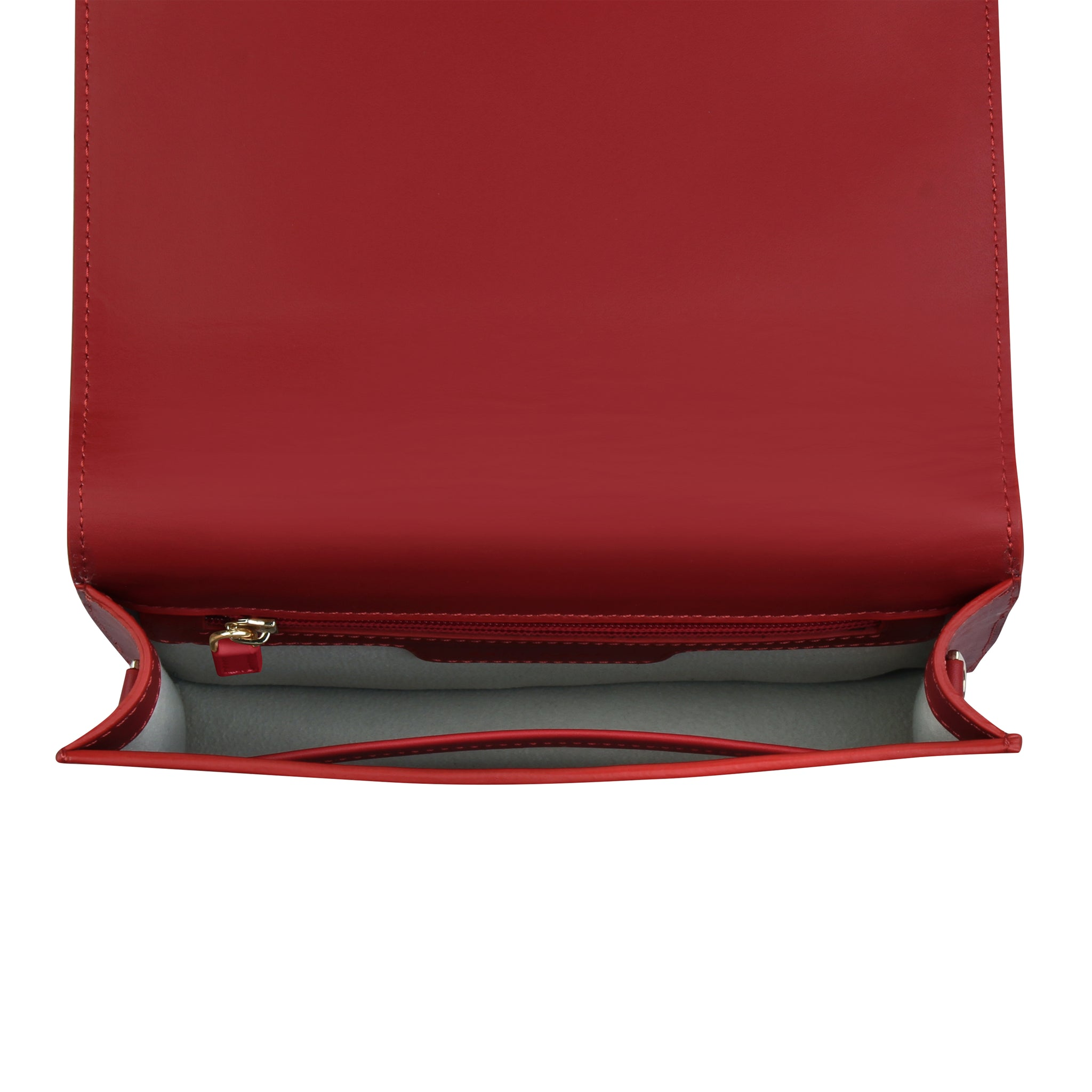 A convertible leather red clutch bag with a knot detail in front that could be used as a crossbody bag, interior image.