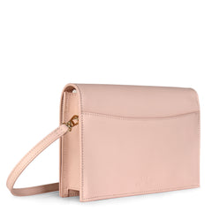 A convertible leather pink clutch bag with a knot detail in front that could be used as a crossbody bag, back image.