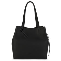An expandable leather black tote bag for women that could be used as a travel bag, front image.