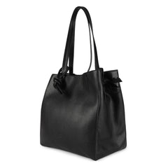 An expandable leather black tote bag for women that could be used as a travel bag, side image.