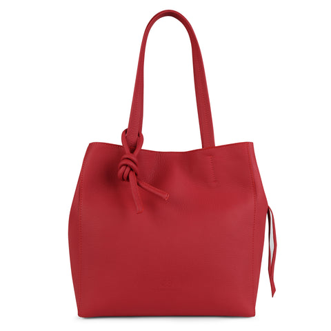 An expandable leather tote bag for women in red that could be used as a travel bag, front image.