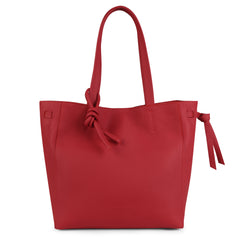 An expandable leather tote bag for women in red shown as a travel bag, front image.