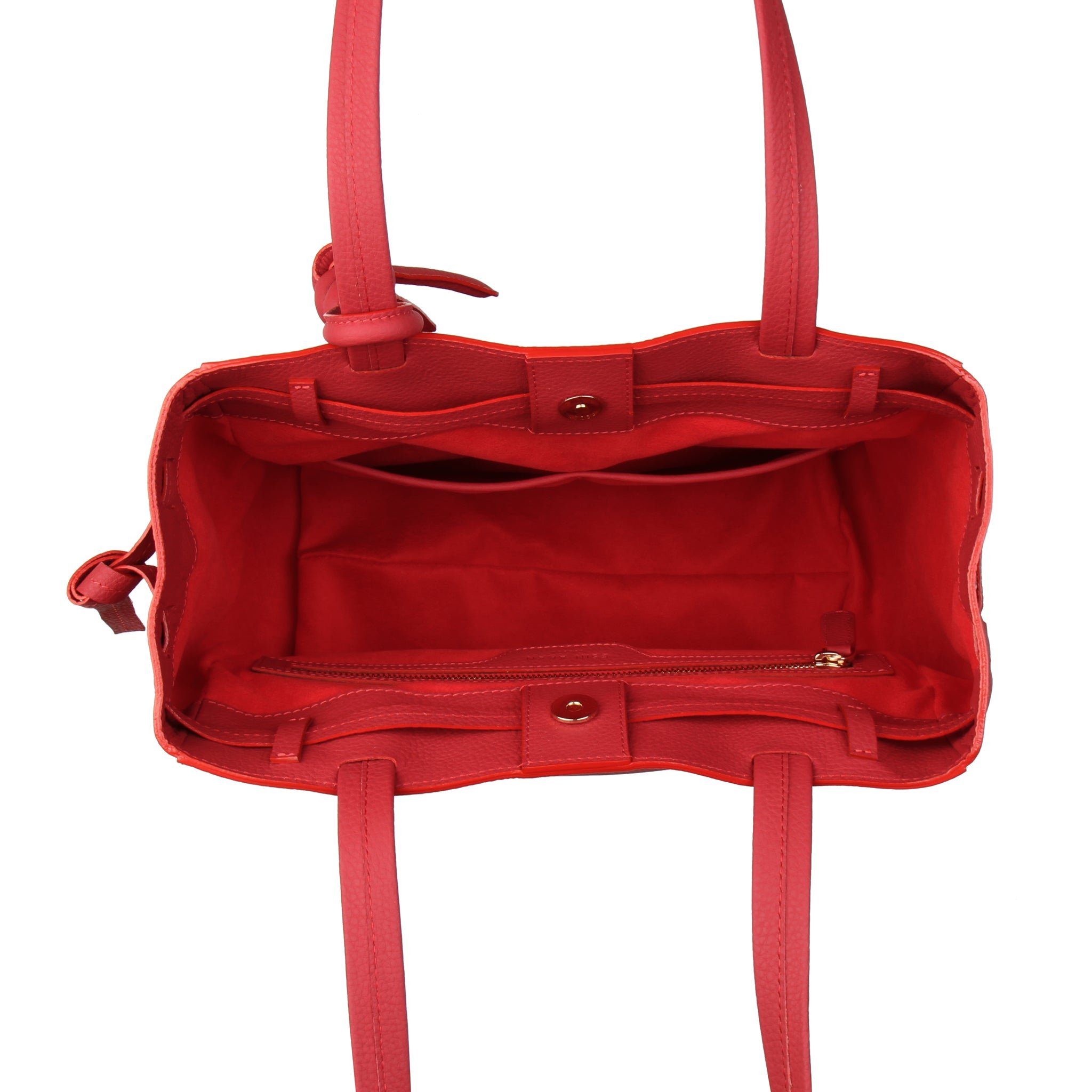 An expandable leather tote bag for women red, interior image.