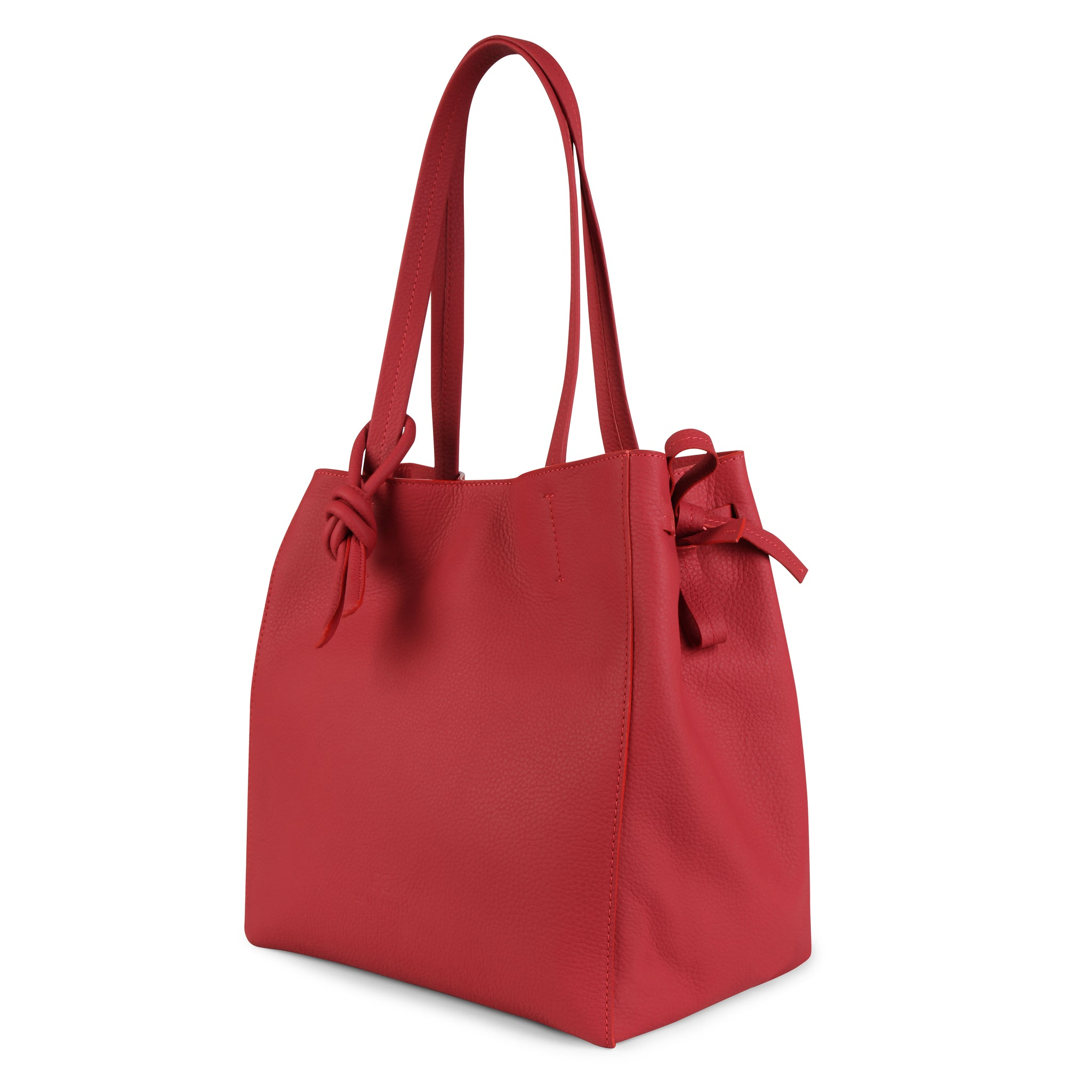 An expandable leather tote bag for women in red that could be used as a travel bag, side image.
