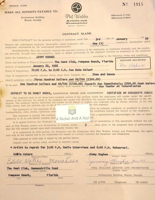Jimmy Hughes (Fame Records) - original 1966 performance contract (Most Club, Pompano Beach, Florida).
