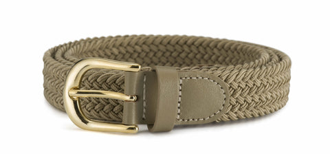 Ladies 1 inch (25mm) Stretch Belt with Gold Buckle