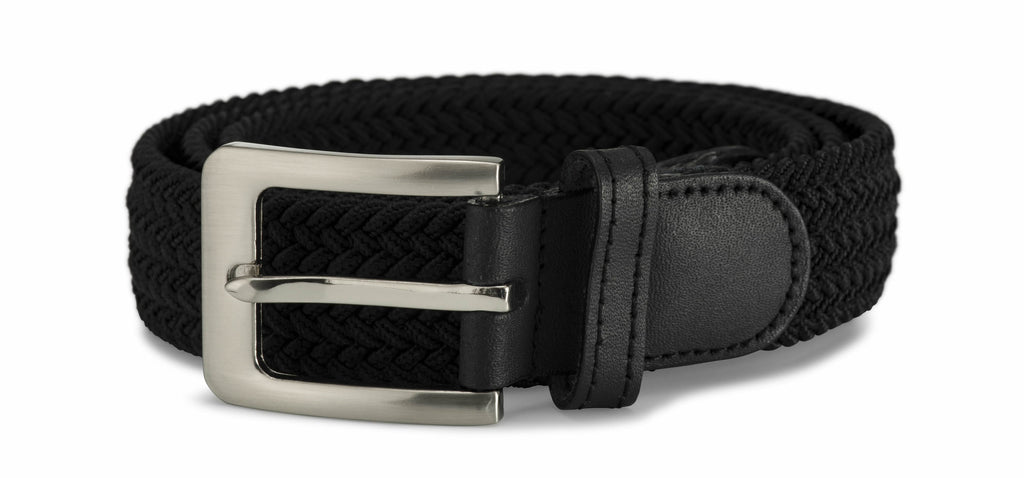 32mm Stretch Belt with Rectangular Silver Coloured Buckle