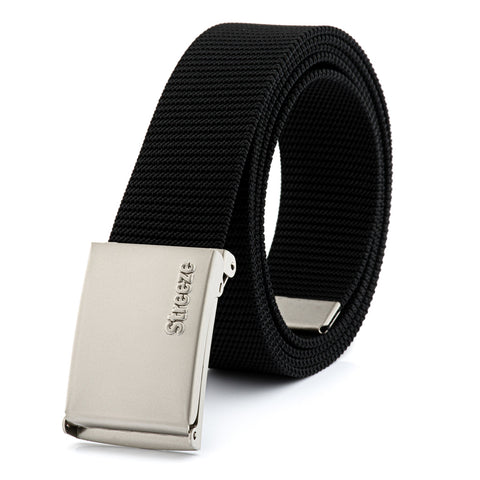 38mm Strong Black Nylon Webbing Belt with Automatic Buckle - One Size