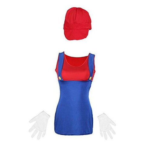 80's Mario Red  Ladies Fancy Dress UK Size 6-14