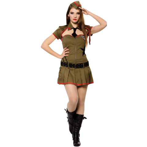 WW2 Costume for Women | Sexy Soldier Outfit - Dress, Jacket, Belt, Hat and Tie| UK Size 8-12