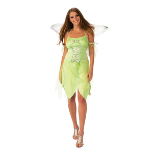 Adult Pixie Fairy Costume | Woodland Green Dress, Fairy Wings and Armbands | UK Size 8-18
