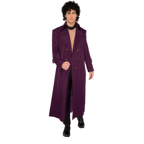 Prince 80s Costume | Long Purple Jacket | UK Size Medium to X-Large