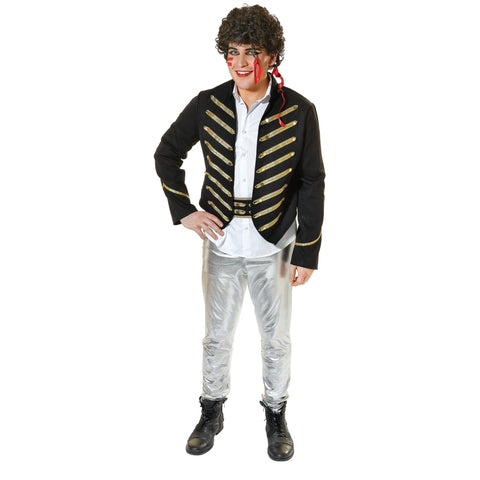 Adam Ant Costume | Retro Military Jacket, Silver Trousers and Belt | UK Size Medium to X-Large