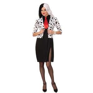Evil Madame Fancy Dress Costume | Black Cocktail Dress with Dalmation Jacket