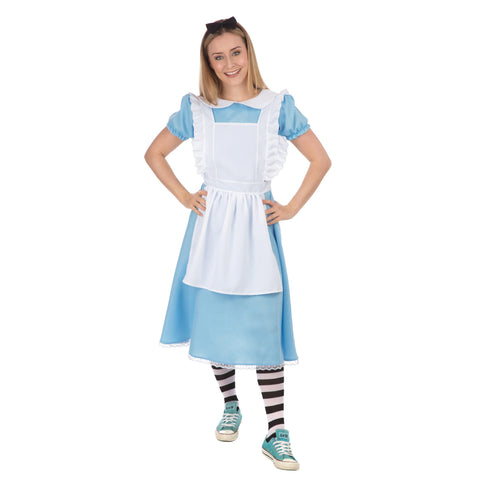 Alice Fancy Dress Costume - Includes Adult Blue Dress, White Apron, Headband and Tights | UK Size 8-18