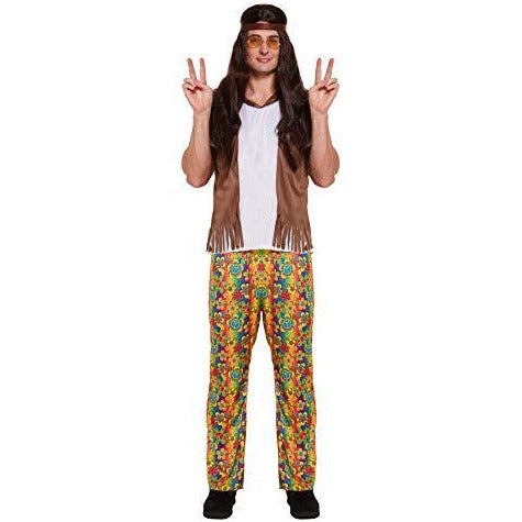 60s 70S fancy dress costume for Retro party – Flower Power Hippy Outfit in UK Size M-XL - UK Fancy Dress at Emmas