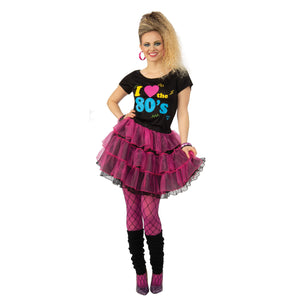 1980s Fancy Dress Costume | I love the 80s Top and Skirt | UK Size 8-18