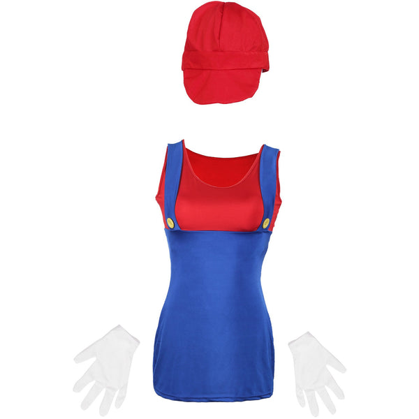 80's Mario Red  Ladies Fancy Dress UK Size 6-14 - UK Fancy Dress at Emmas