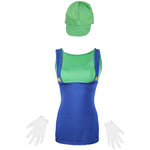 80's Luigi Green Ladies Fancy Dress UK Size 6-14 - UK Fancy Dress at Emmas