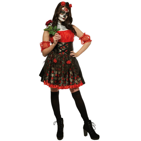 Image of Day of the Dead Fancy Dress | Dress, Headband and Sleevelets | (Women's UK Size 8,10, 12, 14,16 and 18