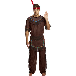 Men's Native Indian Fancy Dress Costume  American Halloween Stag Cowboy Festival - UK Fancy Dress at Emmas