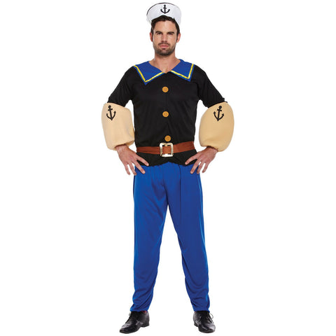 Sailor Fancy Dress Costume Men - Navy 90's Cartoon Stag - UK Fancy Dress at Emmas