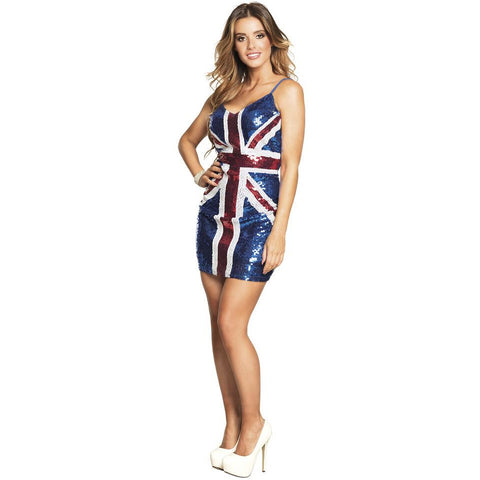 90s Fancy Dress for Women | Union Jack Sequin Dress | UK Size 8-12