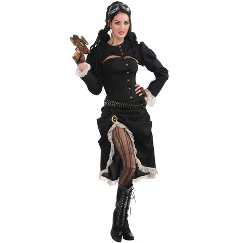 Steampunk Costume for Women | Black Skirt, Corset and Jacket | UK Size 8-12
