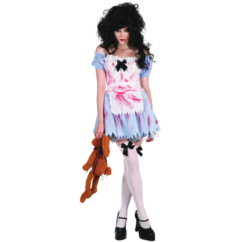 Zombie Girl Fancy Dress | Includes Dress, Petticoat and Apron | One Size UK 10-14