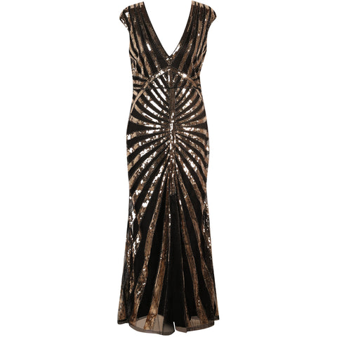 1920s Dresses for Women - Black and Gold Sequin Evening Dress