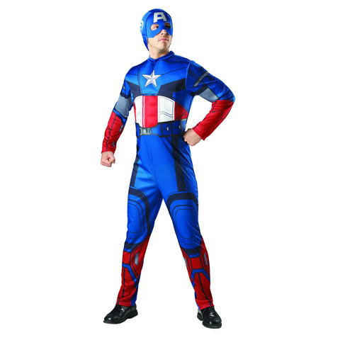 Captain America Fancy Dress | Jumpsuit with muscle chest and Fabric Mask | X Large