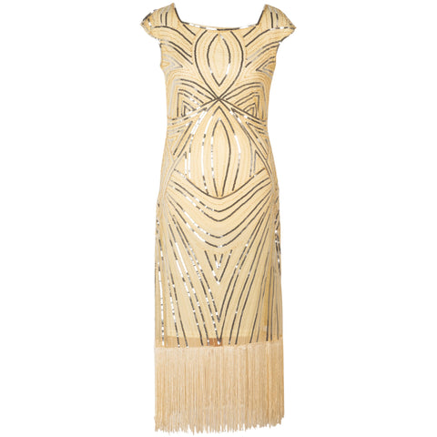 1920s Dresses for Women - Cream Sequin Evening Dress