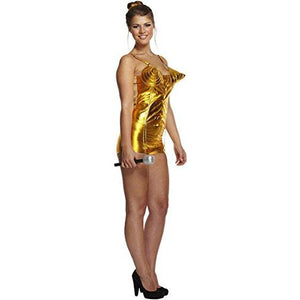 80s Fancy Dress Gold Popstar Ladies Fancy Dress Costume Halloween Retro Events-UK  8-14 - UK Fancy Dress at Emmas