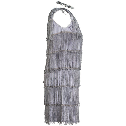 Image of 1920s Grey Flapper Fancy Dress Costume Womens UK Sizes 8-16 - UK Fancy Dress at Emmas
