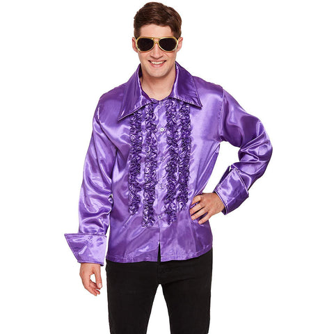 60s 70s purple ruffle disco shirt mens