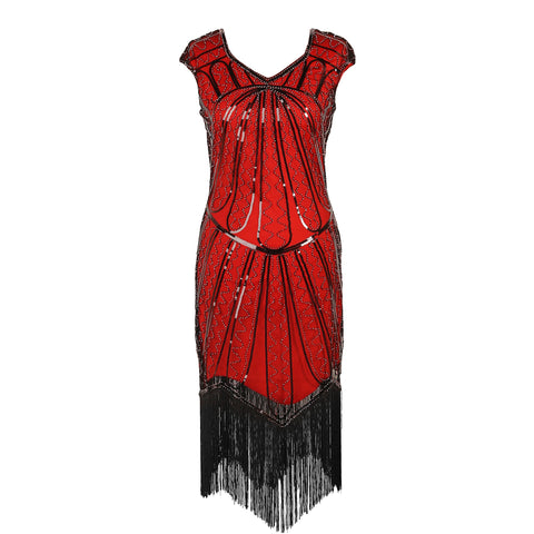 1920s Dresses for Women - Red and Black Sequin Evening Dress