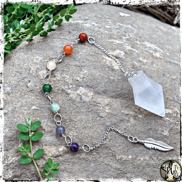 All-In-One Selenite Crystal Pendulum & Bracelet, Healing, Balance