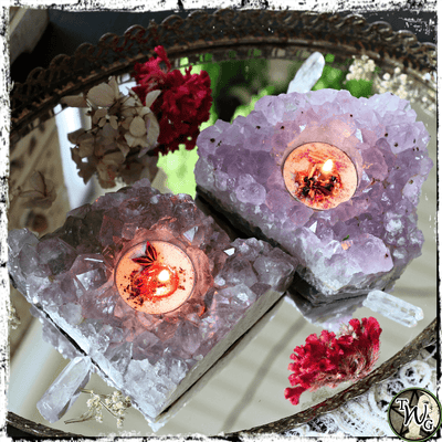 Amethyst Crystal Tealight Candle Holder | Spiritual Awareness