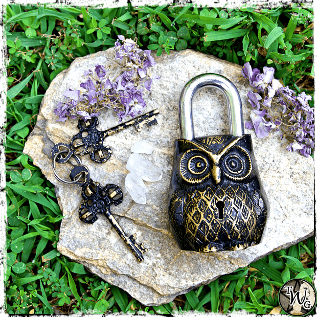 Antique Owl Lock with Keys, The Witch's Guide