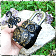 Owl Totem Lock with Keys, Altar Accessory, The Witch's Guide