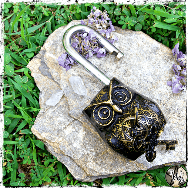 Owl Spirit Lock with Keys, Altar Tool, The Witch's Guide