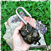 Owl Lock with Keys, Altar Decor, The Witch's Guide