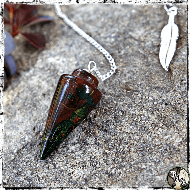 Bloodstone Pendulum, Crystal Pendulums, The Witch's Guide