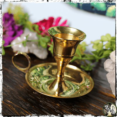 Classic Brass Candle Holder for Pillars, Tapers, The Witch's Guide