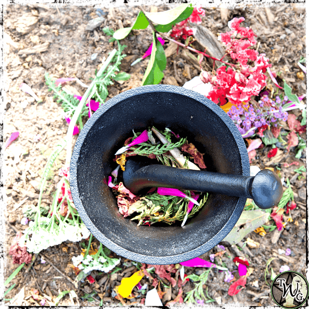 Grinding herbs with black cast iron mortar and pestle, The Witch's Guide