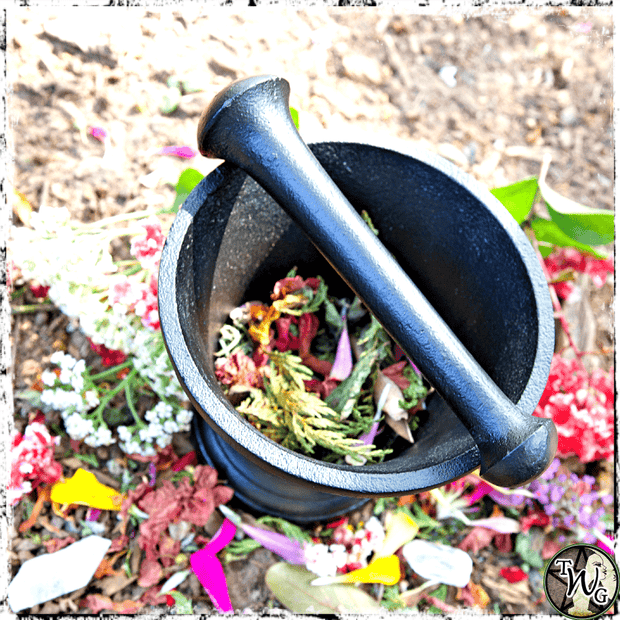 Black Mortar & Pestle Set for Witchcraft, The Witch's Guide