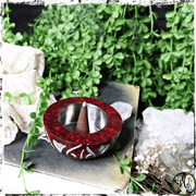 Crimson Soapstone Spade Incense Holder | Holds Cones, Loose Herbs